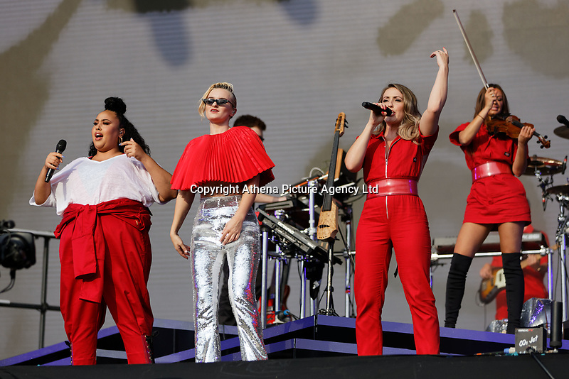 Pictured: (L-R) Nikki Cislyn, Grace Chatto, Kirsten Joy and Stephanie Benedetti of Clean Bandit. Saturday 26 May 2018<br /> Re: BBC Radio 1 Biggest Weekend at Singleton Park in Swansea, Wales, UK.