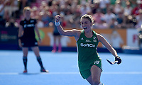 Ireland's Gillian Pinder celebrates scoring the final goal allowing Ireland to win<br /> <br /> Photographer Hannah Fountain/CameraSport<br /> <br /> Vitality Hockey Women's World Cup - Ireland v Spain - Saturday 4th August 2018 - Lee Valley Hockey and Tennis Centre - Stratford<br /> <br /> World Copyright &copy; 2018 CameraSport. All rights reserved. 43 Linden Ave. Countesthorpe. Leicester. England. LE8 5PG - Tel: +44 (0) 116 277 4147 - admin@camerasport.com - www.camerasport.com