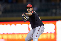 Rochester Red Wings relief pitcher Fernando Romero (31) in action against the Charlotte Knights at BB&T BallPark on May 14, 2019 in Charlotte, North Carolina. The Knights defeated the Red Wings 13-7. (Brian Westerholt/Four Seam Images)
