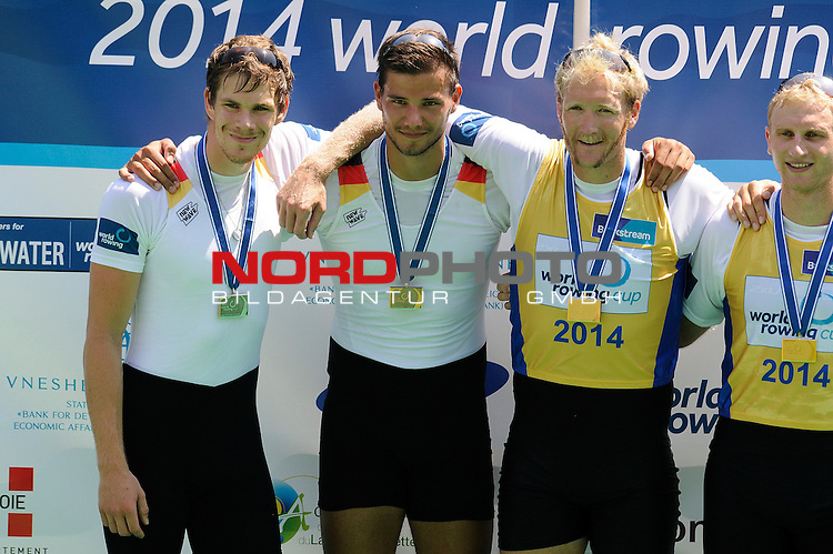 21 June,2014. World Cup Rowing, Aiguebelette, France. Germany 1 with Bastian Bechler and Anton Braun celebrate on the podium after winning thesilver medal in the men's pair final.<br /> <br /> Foto &copy; nph / Pier Paolo Piciucco