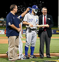 Russ Canzler #37 of the Durham Bulls is named Most Valuable Player for the International League All-Stars in the annual Triple-A All-Star Game against the Pacific Coast League All-Stars at Spring Mobile Ballpark on July 13, 2011  in Salt Lake City, Utah. Canzler drove in all three runs with a homerun for the International League as they won the game, 3-0. Bill Mitchell/Four Seam Images.