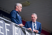 Picture by Allan McKenzie/SWpix.com - 08/04/2018 - Rugby League - Betfred Super League - Wakefield Trinity v Leeds Rhinos - The Mobile Rocket Stadium, Wakefield, England - Leeds's coach Brian McDermott & CEO Gary Hetherington talk.
