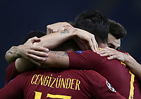 Football Soccer: UEFA Champions League  AS Roma vs PFC CSKA Mosca Stadio Olimpico Rome, Italy, October 23, 2018. <br /> Roma's Cengiz Under celebrates after scoring with his teammates during the Uefa Champions League football soccer match between AS Roma and PFC CSKA Mosca at Rome's Olympic stadium, October 23, 2018.<br /> UPDATE IMAGES PRESS/Isabella Bonotto