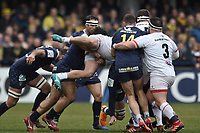 11th January 2020, Parc des Sports Marcel Michelin, Clermont-Ferrand, Auvergne-Rhône-Alpes, France; European Champions Cup Rugby Union, ASM Clermont versus Ulster;  players are lifted in the tackle