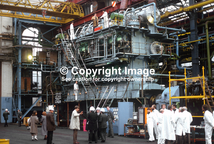 Marine engine under test at Harland &amp; Wolff shipyard, Belfast, N Ireland, for the Canterbury Star, a 10291 tonne refrigerated cargo ship launched 1st July 1985. 19840138ME1.<br /> <br /> Copyright Image from Victor Patterson, 54 Dorchester Park, Belfast, UK, BT9 6RJ<br /> <br /> t: +44 28 90661296<br /> m: +44 7802 353836<br /> vm: +44 20 88167153<br /> e1: victorpatterson@me.com<br /> e2: victorpatterson@gmail.com<br /> <br /> For my Terms and Conditions of Use go to www.victorpatterson.com