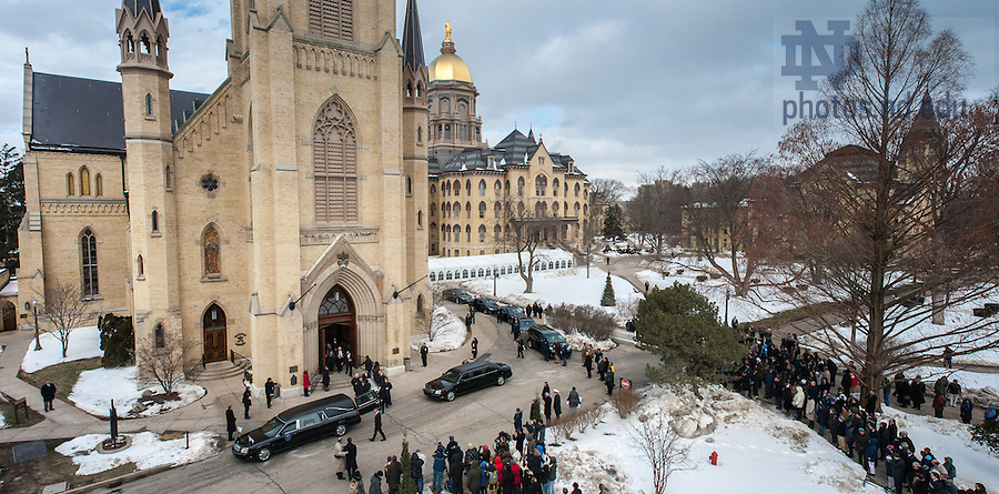 Mar. 4, 2015; The casket of President Emeritus Rev. Theodore M. Hesburgh, C.S.C. is carried out the Basilica of the Sacred Heart following the funeral Mass. (Photo by Joe Raymond/University of Notre Dame)