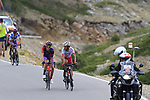 The breakaway featuring Jetse Bol (NED), Polka Dot Jersey Angel Madrazo Ruiz (Spa) Burgos-BH and Jose Herrada (ESP) Cofidis still in the lead on the final Cat 1 climb up to Observatorio Astrofisico de Javalambre during Stage 5 of La Vuelta 2019 running 170.7km from L'Eliana to Observatorio Astrofisico de Javalambre, Spain. 28th August 2019.<br />