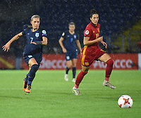 20170723 - BREDA , NETHERLANDS : English Jordan Nobbs (L) and Spanish Jennifer Hermoso (R) pictured during the female soccer game between England and Spain  , the second game in group D at the Women's Euro 2017 , European Championship in The Netherlands 2017 , Sunday 23 th June 2017 at Stadion Rat Verlegh in Breda , The Netherlands PHOTO SPORTPIX.BE | DIRK VUYLSTEKE