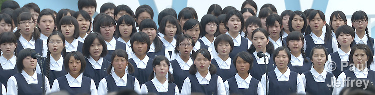 Part of a children's choir that sang during a memorial ceremony in Nagasaki, Japan, on August 9, 2015, the 70th anniversary of the day the United States dropped an atomic bomb on the city. Participants in the ceremony included members of an ecumenical group of pilgrims from the World Council of Churches who each came to Japan to see for themselves the results of the bombings 70 years ago, to listen to survivors and local church leaders, and to recommit themselves to new forms of advocacy for a world free of nuclear weapons.