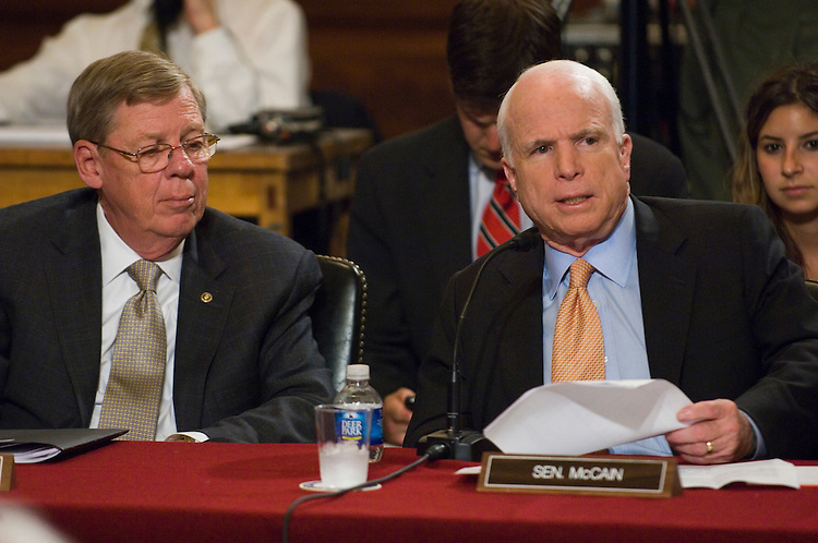 WASHINGTON, DC - June 17: Sen. Johnny Isakson, R-Ga., and Sen. John McCain, R-Ariz., during the first day of the Senate Health, Education, Labor and Pensions markup of comprehensive healthcare legislation. (Photo by Scott J. Ferrell/Congressional Quarterly)