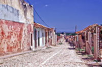 Trinidad Cuba, Cobblestone Street, houses, architecture, Exterior, day