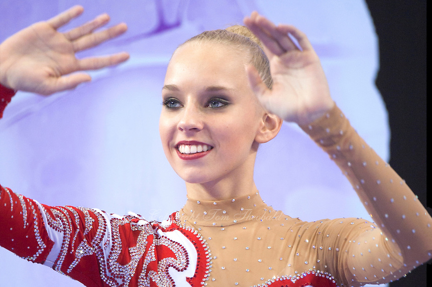 September 26, 2014 - Izmir, Turkey -  YANA KUDRYAVTSEVA of Russia celebrates AA gold medal win at 2014 World Championships.
