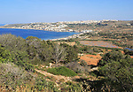 View to Mellieha Bay, Marfa peninsula, Malta over Ghadira nature reserve
