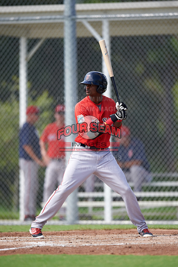 Boston Red Sox Yoan Aybar (32) during an Instructional League game against the Minnesota Twins on September 24, 2016 at CenturyLink Sports Complex in Fort Myers, Florida.  (Mike Janes/Four Seam Images)