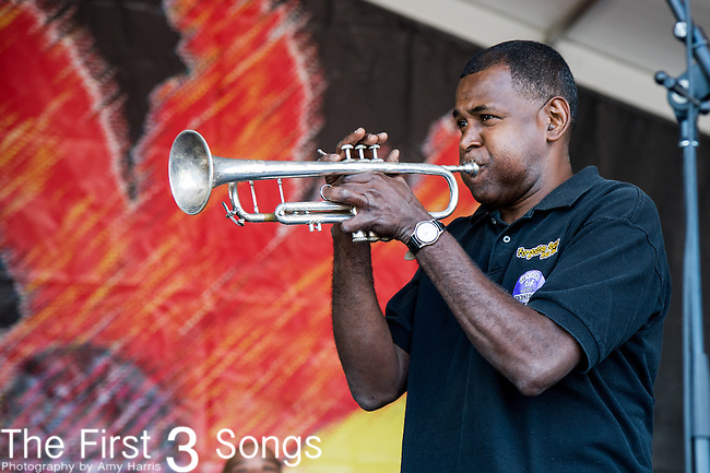William Smith of the Forgotten Souls Brass Band performs during the New Orleans Jazz & Heritage Festival in New Orleans, LA.