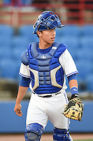 Dunedin Blue Jays catcher Derrick Chung (1) walks back to the dugout during a game against the Daytona Cubs on April 14, 2014 at Florida Auto Exchange Stadium in Dunedin, Florida.  Dunedin defeated Daytona 1-0  (Mike Janes/Four Seam Images)