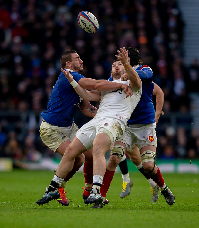 England's Luke Cowan-Dickie in action during todays match<br /> <br /> Photographer Bob Bradford/CameraSport<br /> <br /> Guinness Six Nations Championship - England v France - Sunday 10th February 2019 - Twickenham Stadium - London<br /> <br /> World Copyright &copy; 2019 CameraSport. All rights reserved. 43 Linden Ave. Countesthorpe. Leicester. England. LE8 5PG - Tel: +44 (0) 116 277 4147 - admin@camerasport.com - www.camerasport.com