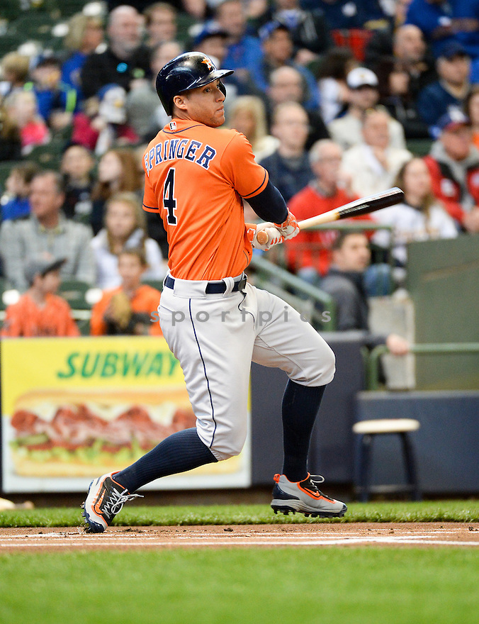 Houston Astros George Springer (4) during a game against the Milwaukee Brewers on April 10, 2016 at Miller Park in Milwaukee, WI. The Brewers beat the Astros 3-2.