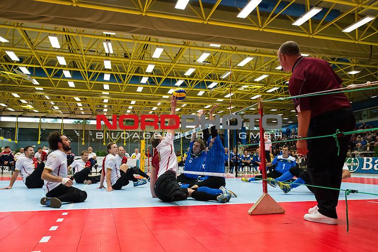 07.10.2015, Sportschule der Bundeswehr, Warendorf<br /> Sitzvolleyball, Europameisterschaft, Finale, Deutschland vs. Bosnien-Herzegowina<br /> <br /> Angriff Alex Schiffler (#1 GER)<br /> <br />   Foto &copy; nordphoto / Kurth