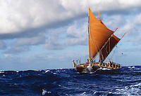 Polynesian voyaging canoe Hokule'a in the Ka'iwi Channel off the coast of O'ahu. Contact PRH for permission to use this photo.