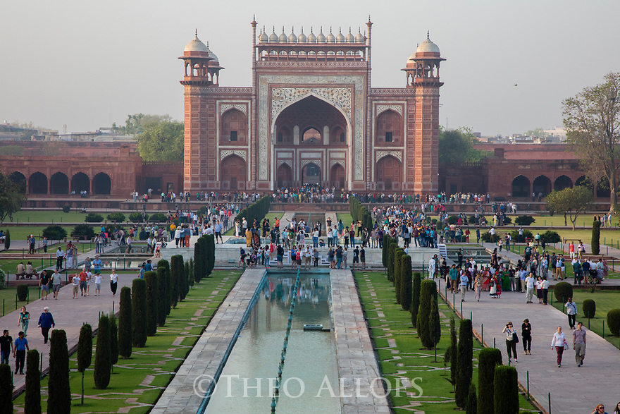India, Agra, entrance gate  of Taj Mahal,