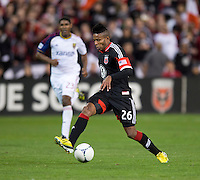 Lionard Pajoy (26) of D.C. United steps over the ball during the game at RFK Stadium in Washington, DC.  D.C. United defeated Real Salt Lake, 1-0.