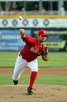 Tanner Roark #21 of the Harrisburg Senators plays in a game against the Akron Aeros at Metro Bank Park on June 10, 2011 in Harrisburg, Pennsylvania.   ..Photo By Bill Mitchell/Four Seam Images