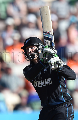 08.03.2015. Napier, New Zealand.  Martin Guptill batting during the ICC Cricket World Cup match between New Zealand and Afghanistan at McLean Park in Napier, New Zealand. Sunday 8 March 2015.