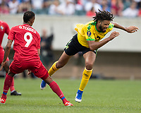 PHILADELPHIA, PA - JUNE 30: Michael Hector #3 is fouled bye Gabriel Torres #9 during a game between Panama and Jamaica at Lincoln Financial Field on June 30, 2019 in Philadelphia, Pennsylvania.