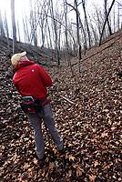 NWA Democrat-Gazette/FLIP PUTTHOFF<br />Cris Jones looks over a stand of maple trees Feb. 17 2018 along the Back 40 Trail System in Bella Vista.