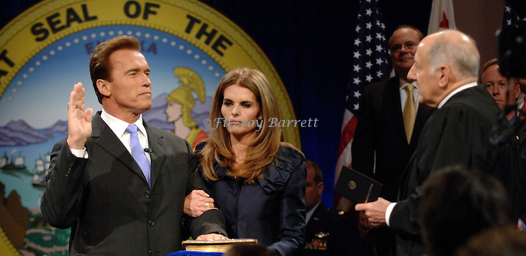 Governor Arnold Schwarzenegger and his wife Maria Shriver at his Swearing in Ceremony 2007 at the Memorial auditorium Sacramento, Ca. January 5, 2007. Fitzroy Barrett
