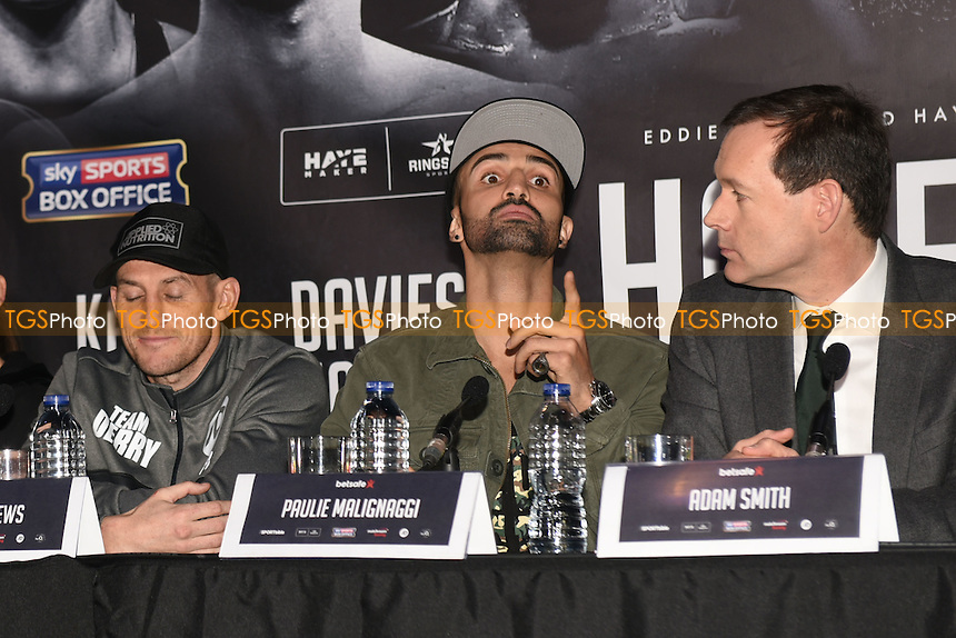Boxer Paulie Malignaggi (C) during a Matchroom Boxing Press Conference at The O2 on 2nd March 2017