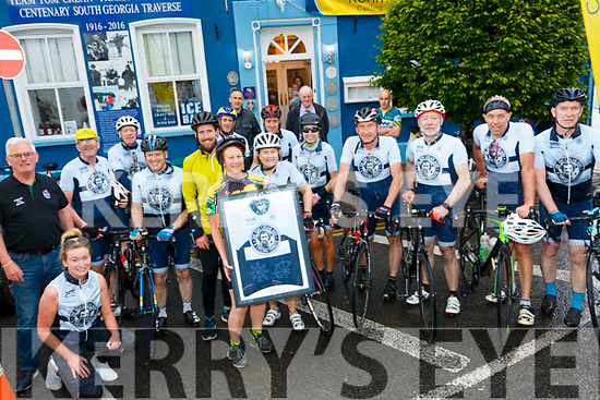 TOM CREAN 600 EVENT: Naas Cycling Club members and support crew who cycled from Naas, Co. Kildare to Kenmare and back again over two days this weekend in aid of Enable Ireland and McCauley Place. The crew are pictured outside Tom Crean Fish & Wine, & Accommodation in Kenmare where a presentation of a beautiful Tom Crean framed cycling jersey was presented to Aileen Crean O'Brien on Saturday.