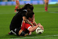 Jacey Grusnick scores during the 2017 International Women's Rugby Series rugby match between the NZ Black Ferns and Canada at Westpac Stadium in Wellington, New Zealand on Friday, 9 June 2017. Photo: Dave Lintott / lintottphoto.co.nz