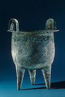 "China: Bronze Cauldron (ding), Zhenghou Phase, mid-2nd mill. B.C.  21 1/4"" high.  The Great Bronze Age--Hubei Provincial Museum.  Exhibition from People's Republic of China."