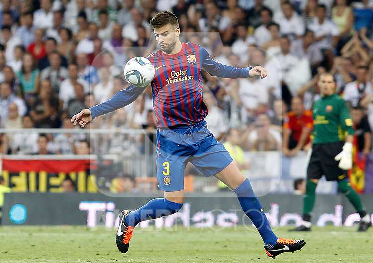 FC Barcelona's Gerard Pique during Spanish Supercup 1st match.August 14,2011. (ALTERPHOTOS/Acero)
