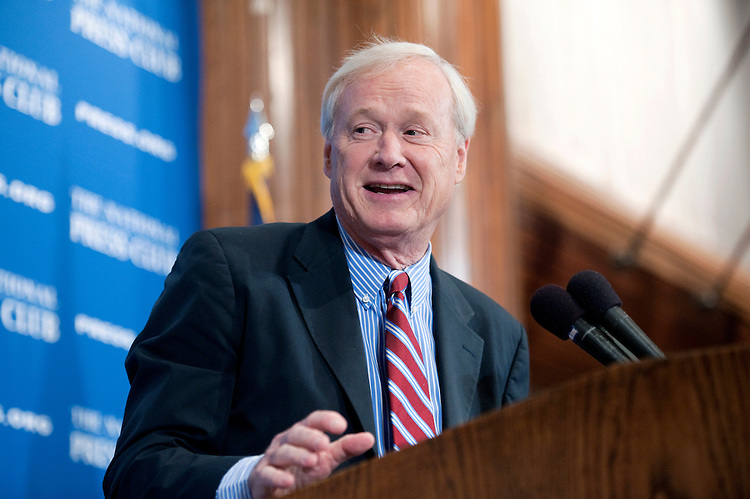 "UNITED STATES - JUNE 4: Chris Matthews, host of MSNBC's ""Hardball with Chris Matthews"" and the weekly ""Chris Matthews Show,"" delivers a National Press Club Newsmaker Luncheon address at the 25th annual Gerald R. Ford Presidential Foundation journalism awards luncheon for coverage of the presidency and for coverage of national defense issues.  (Photo by Chris Maddaloni/CQ Roll Call)"