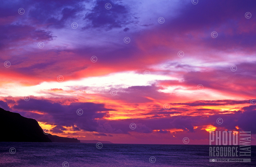 Facing west on the Kalaupapa peninsula under a colorful sunset
