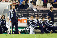 Real Madrid head coach Jose Mourinho observes his team in action.           Real Madrid beat the LA Galaxy 3-2 in an international friendly match at the Rose Bowl in Pasadena, California on Saturday evening August 7, 2010.