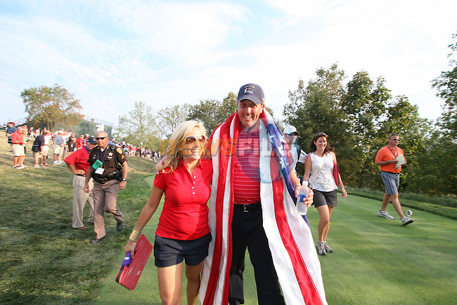Phil Mickelson and wife Amy walking up the 18th fairway after USA winning the final round of Single Matches at The 37th Ryder cup from Valhalla Golf Club in Louisville, Kentucky....Photo: Fran Caffrey/www.golffile.ie.