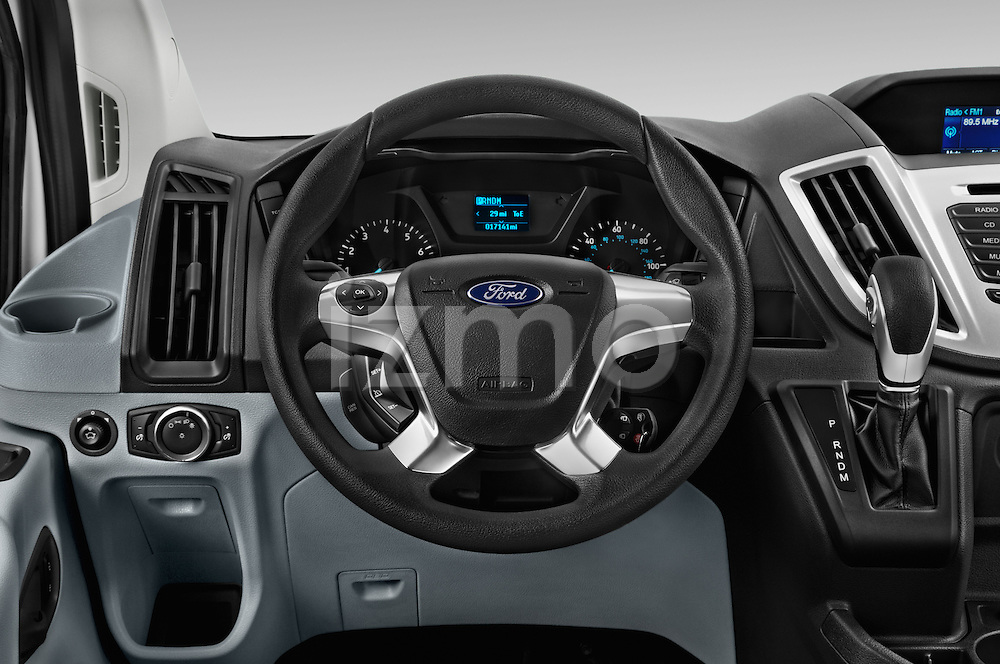 Car pictures of steering wheel view of a 2016 Ford Transit 350-XLT-Wagon-High-Roof-Pass-Slide-148WB 4 Door Passenger Van Steering Wheel