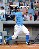 April 10, 2009: Infielder Michael Fisher (24) of the Myrtle Beach Pelicans, Class A affiliate of the Atlanta Braves, in a game against the Wilmington Blue Rocks at BB&T Coastal Field in Myrtle Beach, S.C. Photo by:  Tom Priddy/Four Seam Images