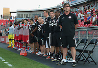 18 July 2012: Toronto FC head coach Paul Mariner and his coaching staff during the opening ceremonies in an MLS game between the Colorado Rapids and Toronto FC at BMO Field in Toronto, Ontario..Toronto FC won 2-1..