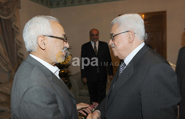 Palestinian President Mahmoud Abbas (Abu Mazen)  during the meeting of the Renaissance Party, Rashid Ghannouchi, in Tunisia on Nov. 11, 2011. Photo by Thaer Ganaim