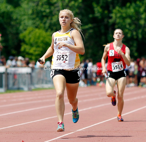 New Britain, CT- 03 June 2013-060313CM03-Thomaston's Sabrina Olsen anchors the 4x800m relay at the State Open Track and Field meet at Willow Brook Park in New Britain Monday afternoon.    Christopher Massa Republican-American