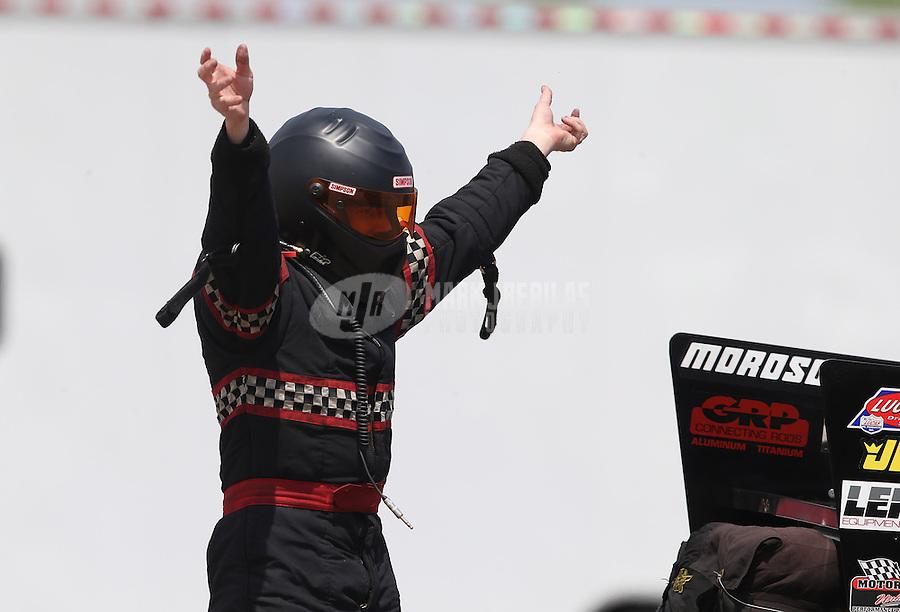Apr. 26, 2013; Baytown, TX, USA: NHRA top alcohol funny car driver Mark Billington during qualifying for the Spring Nationals at Royal Purple Raceway. Mandatory Credit: Mark J. Rebilas-