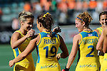The Hague, Netherlands, June 12: Ashleigh Nelson #8 of Australia and Georgie Parker #19 of Australia celebrate after the field hockey semi-final match (Women) between USA and Australia on June 12, 2014 during the World Cup 2014 at Kyocera Stadium in The Hague, Netherlands. Final score after full time 2-2 (0-1). Score after shoot-out 1-3. (Photo by Dirk Markgraf / www.265-images.com) *** Local caption *** (R) Georgia Nanscawen #2 of Australia