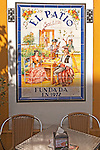 Ceramic tile picture of traditional folk musicians at El Patio restaurant, Triana district, Seville, Spain