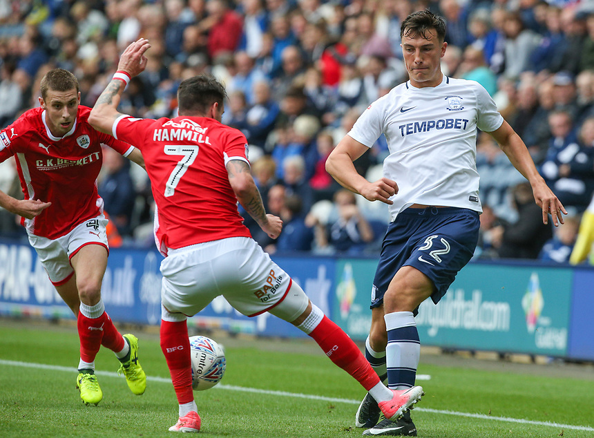 Preston North End's Josh Earl battles with Barnsley's Adam Hammill<br /> <br /> Photographer Alex Dodd/CameraSport<br /> <br /> The EFL Sky Bet Championship - Preston North End v Barnsley - Saturday 9th September 2017 - Deepdale Stadium - Preston<br /> <br /> World Copyright &copy; 2017 CameraSport. All rights reserved. 43 Linden Ave. Countesthorpe. Leicester. England. LE8 5PG - Tel: +44 (0) 116 277 4147 - admin@camerasport.com - www.camerasport.com
