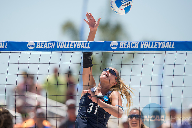 GULF SHORES, AL - MAY 07:  Deanna Kraft (31) of Pepperdine University hits the ball during the Division I Women's Beach Volleyball Championship held at Gulf Place on May 7, 2017 in Gulf Shores, Alabama.The University of Southern California defeated Pepperdine 3-2 to claim the national championship. (Photo by Stephen Nowland/NCAA Photos via Getty Images)
